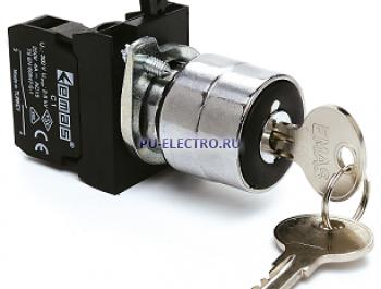 Кнопка с ключом, с фикусацией 0-1, ключ выним. в полож. 0 (1НО) IP65 металл