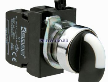 Переключатель 2-0-1 с фиксацией (2НО) IP65 металл