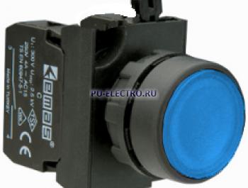 Кнопка нажимная круглая синяя(1НО+1НЗ) IP65