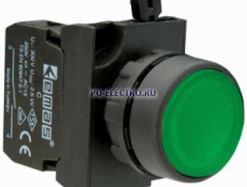 Кнопка нажимная круглая зеленая(2НЗ) IP65