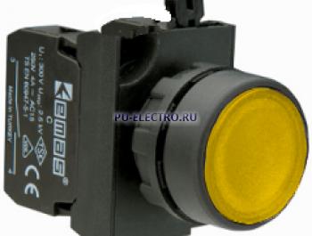 Кнопка нажимная круглая желтая(1НО+1НЗ) IP65